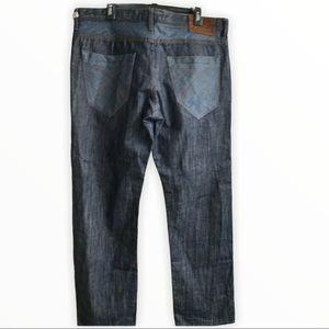 AKOO Dark Heavy Denim Jeans Size 38 Suede Label